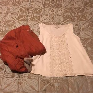 LOFT lace front sleeves blouse cream XS